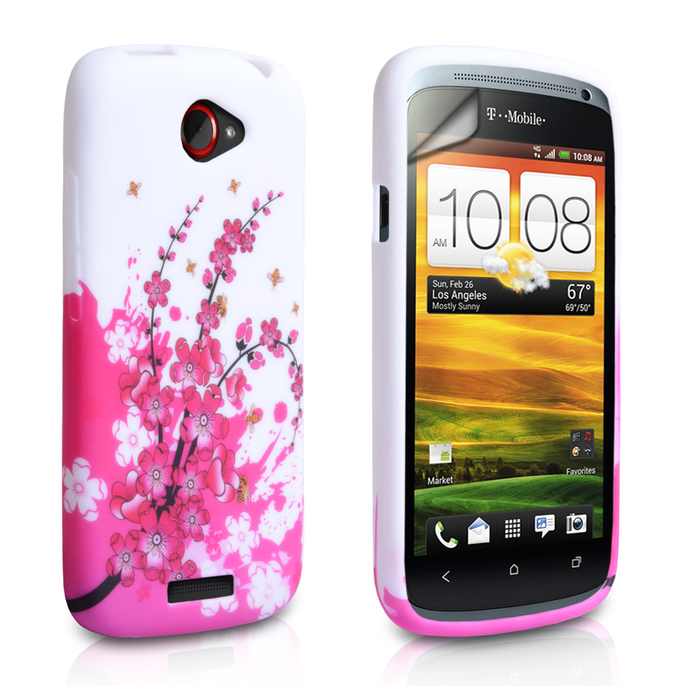 YouSave Accessories HTC One S White Pink Floral Bee Gel Case