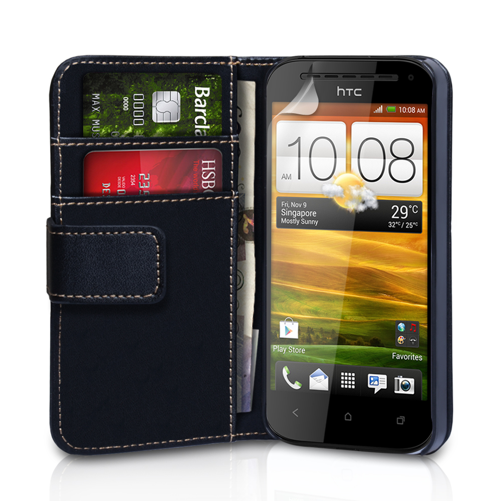 YouSave Accessories HTC One SV Leather Effect Wallet Case - Black