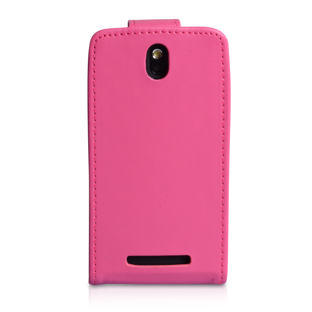 YouSave Accessories HTC One SV Leather Effect Flip Case - Hot Pink