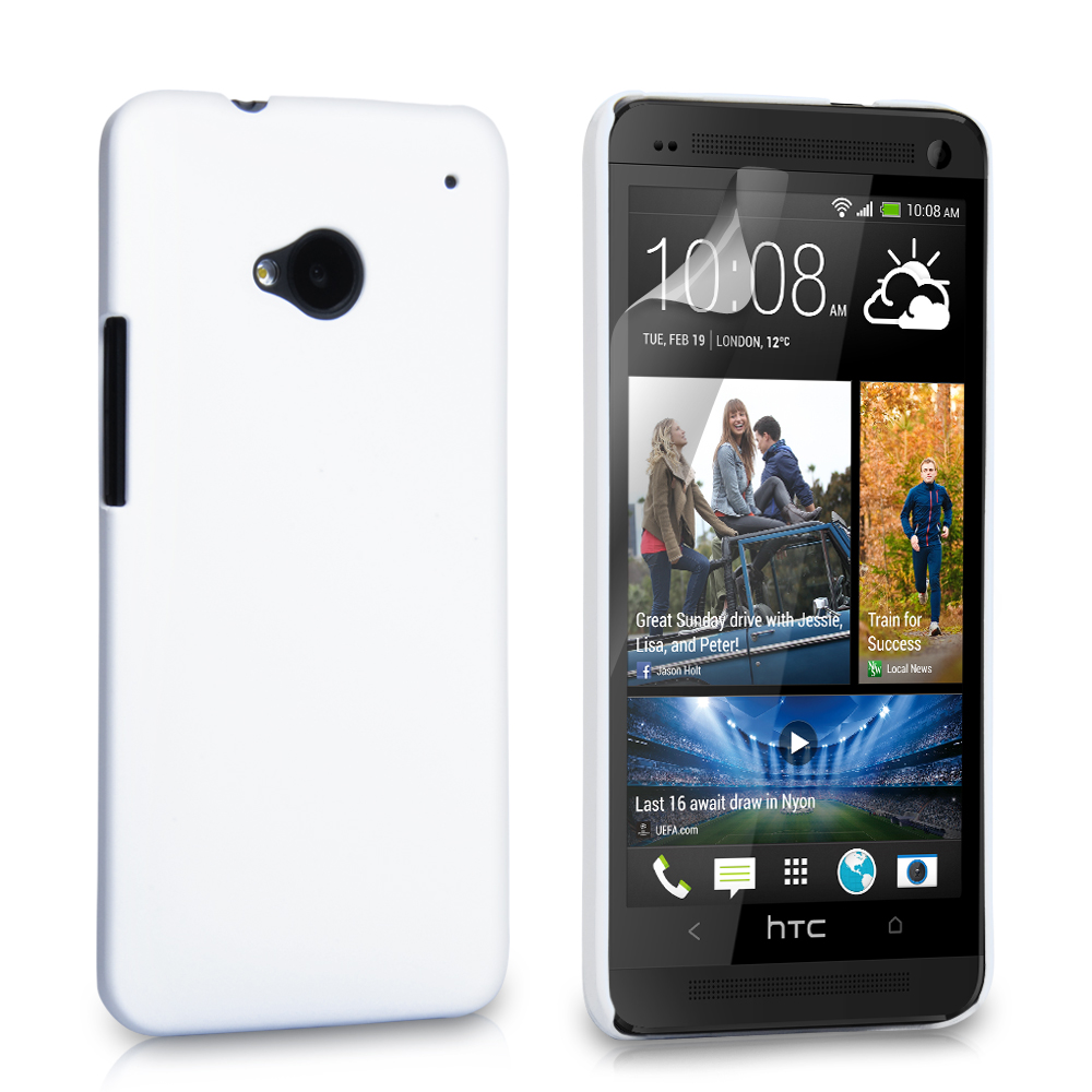 YouSave Accessories HTC One Hard Hybrid Case - White
