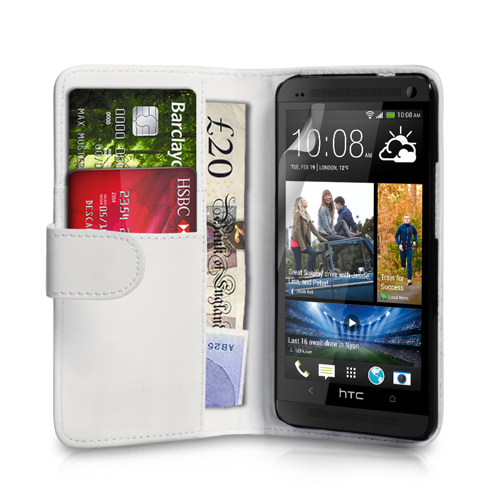 YouSave Accessories HTC One Leather Effect Wallet Case - White