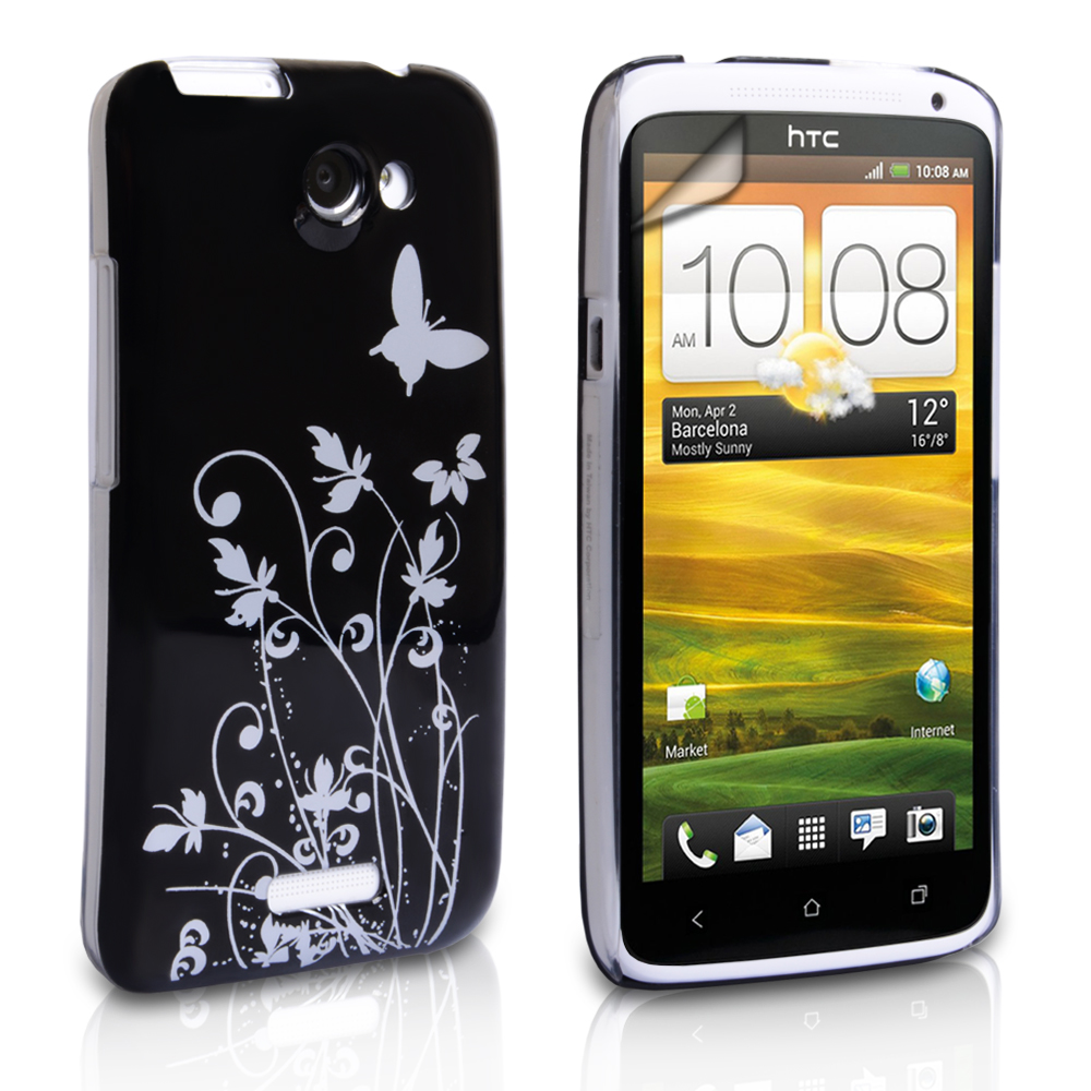 YouSave HTC One X Floral Butterfly Hard Case - Black-Silver