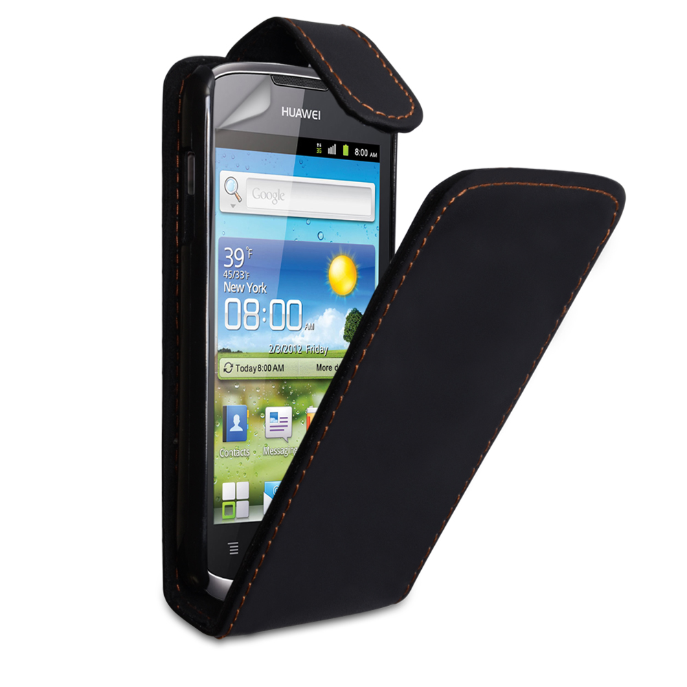 YouSave Huawei Ascend G300 Leather Effect Flip Case - Black