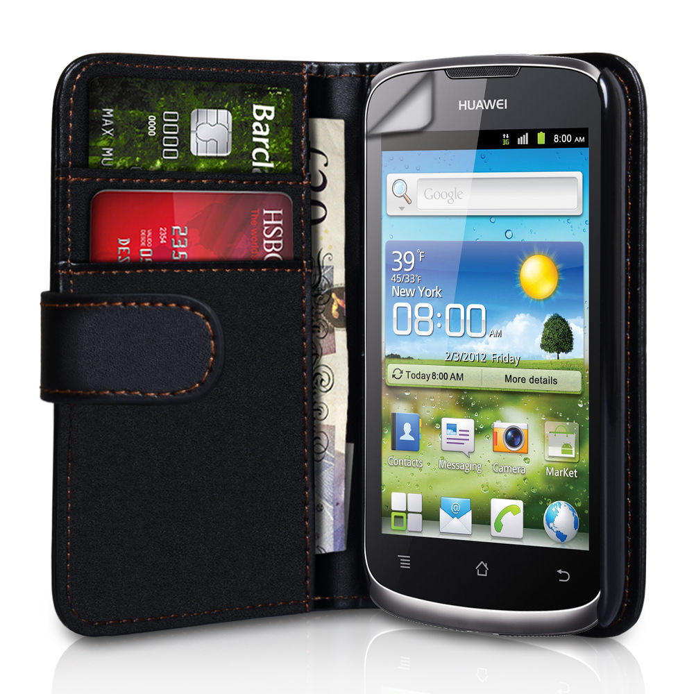 YouSave Huawei Ascend G300 Black Leather Effect Wallet Case