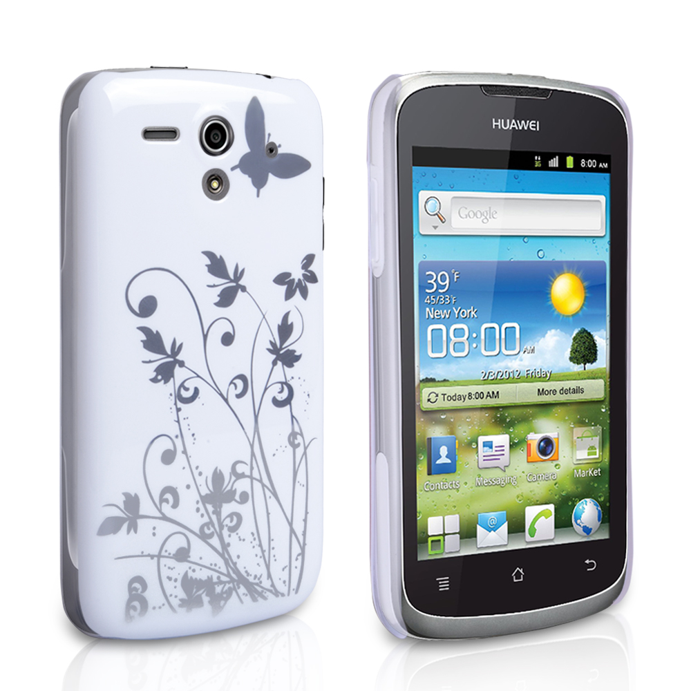 YouSave Accessories Huawei Ascend G300 White Butterfly IMD Hard Case