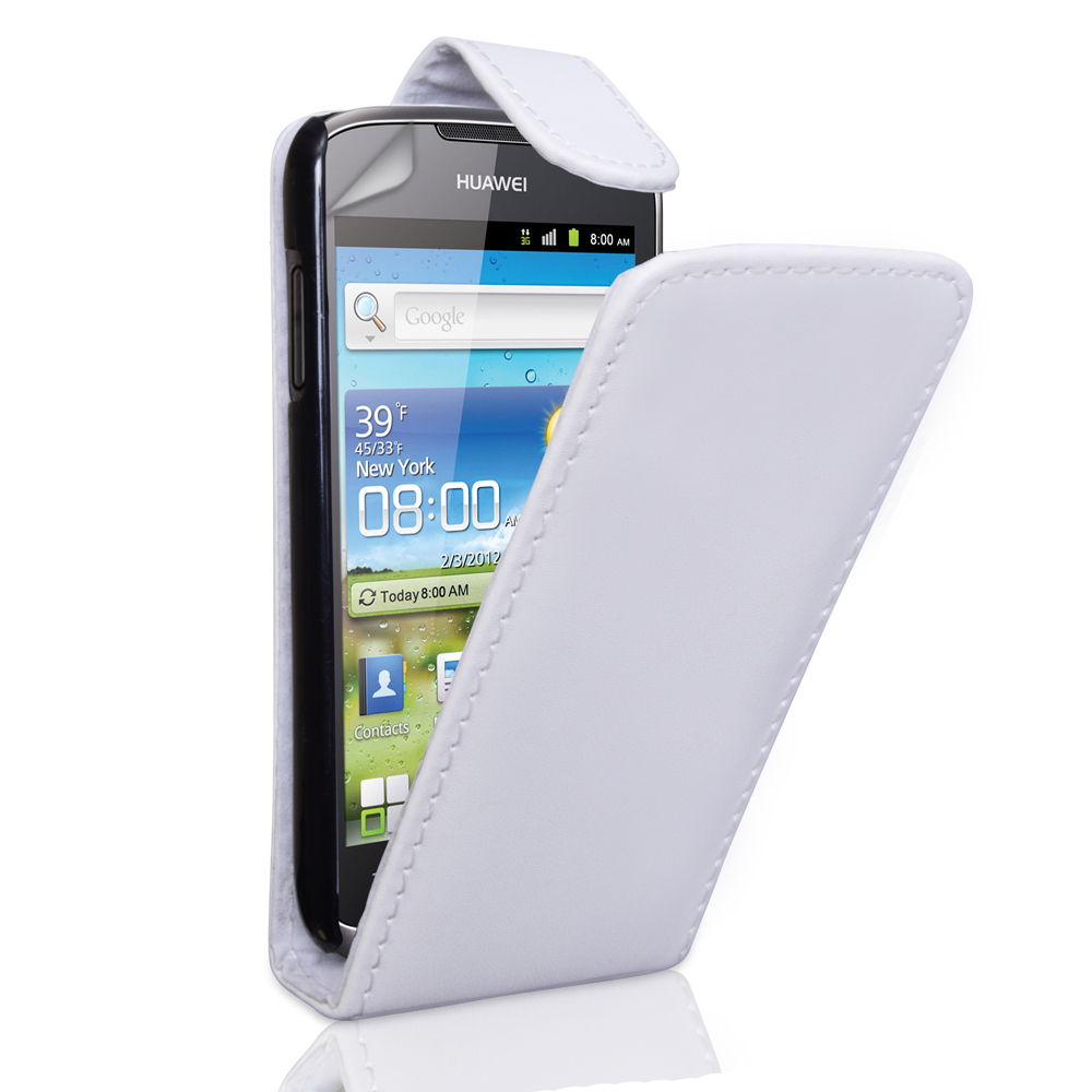 YouSave Accessories Huawei Ascend G300 White Leather Effect Flip Case