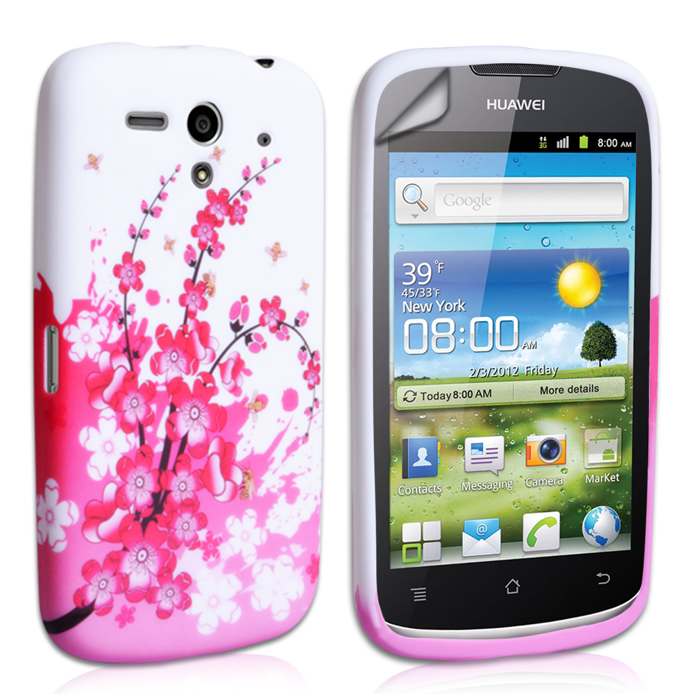 YouSave Accessories Huawei Ascend G300 Floral Bee Silicone Gel Case