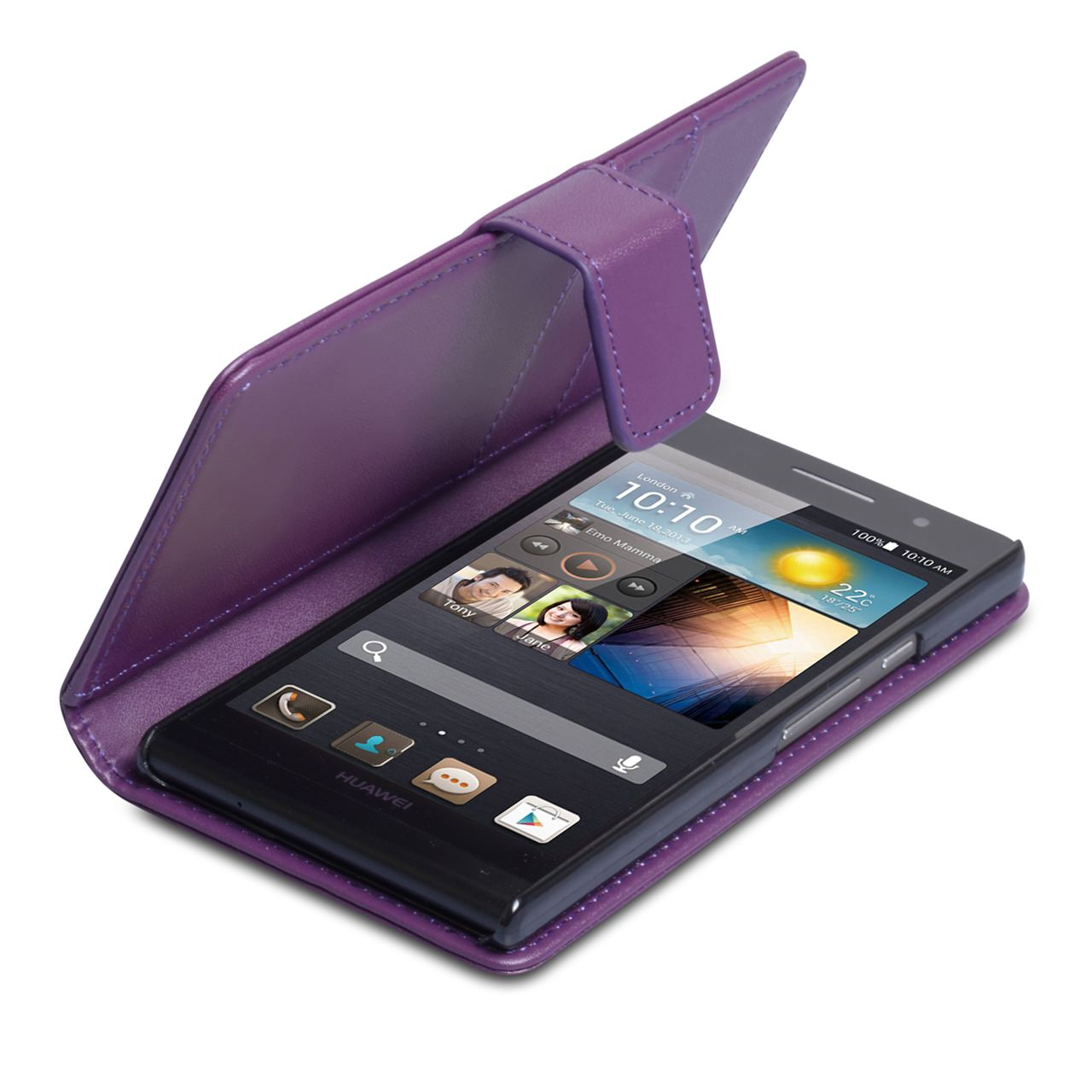 YouSave Accessories Huawei Ascend P6 Purple Leather Effect Wallet Case