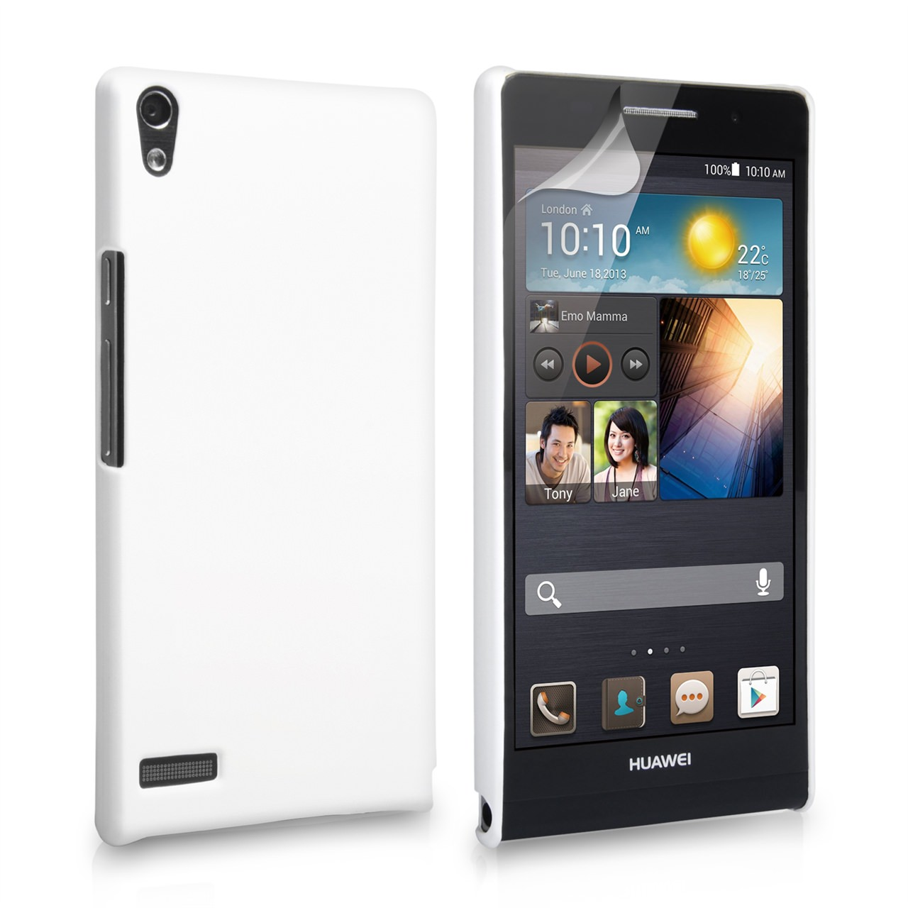 YouSave Accessories Huawei Ascend P6 Hard Hybrid Case - White