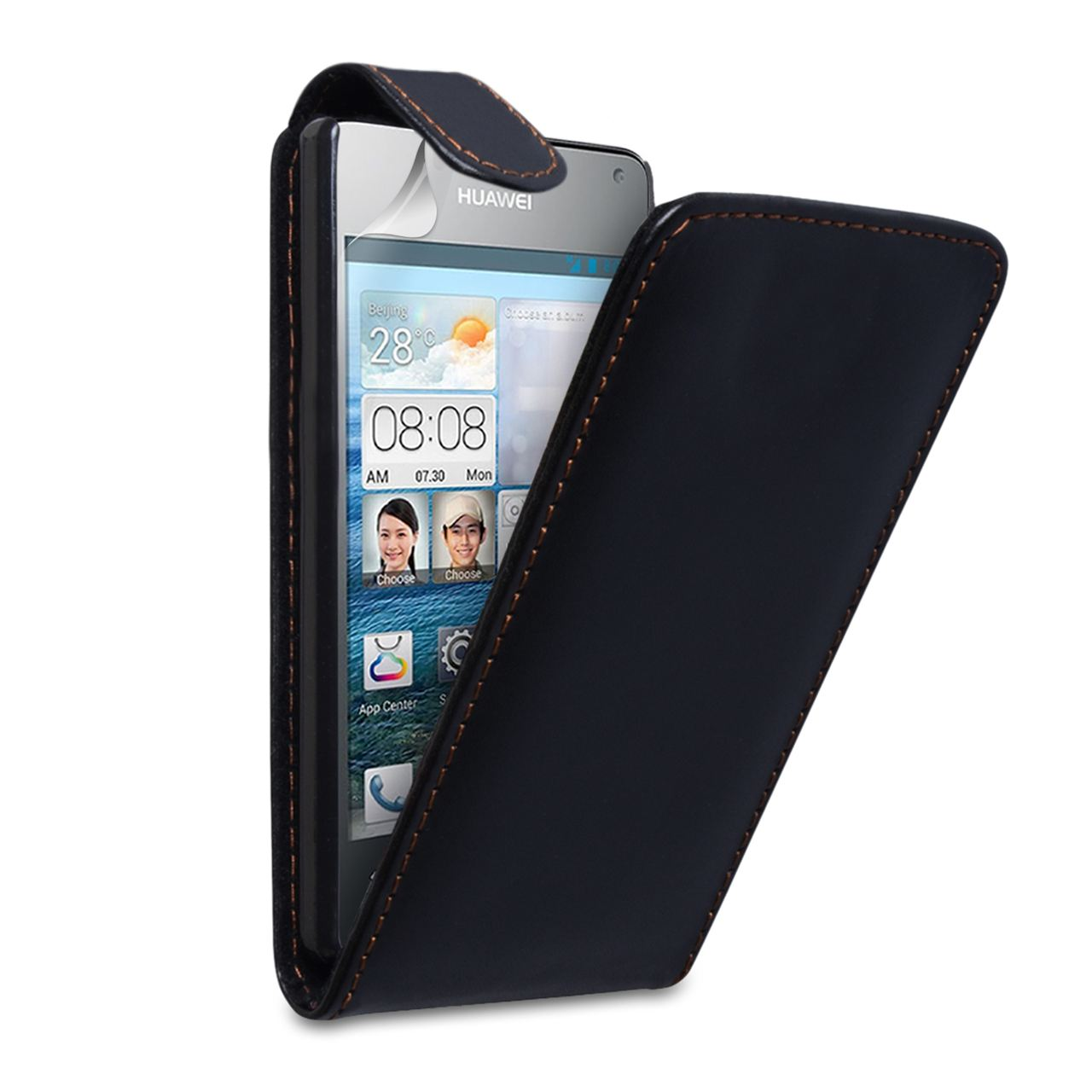 YouSave Huawei Ascend Y300 Leather Effect Flip Case - Black