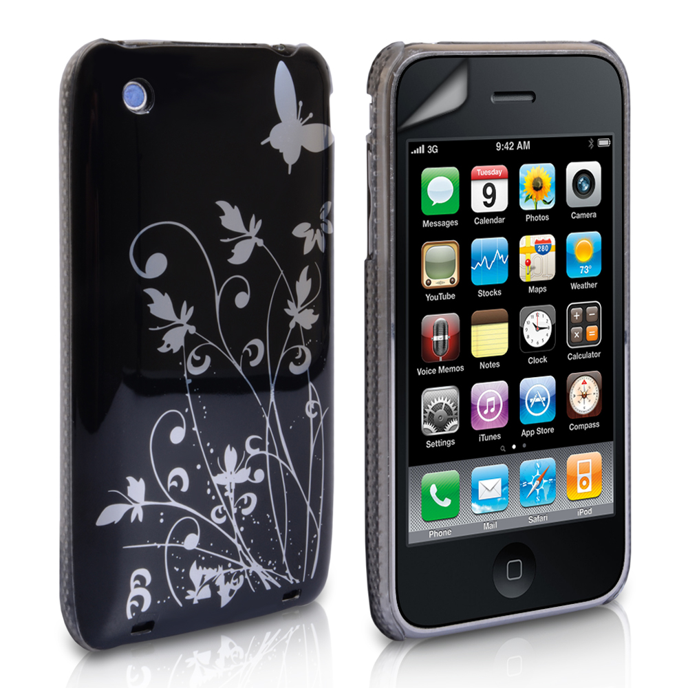 YouSave iPhone 3G / 3GS Floral Butterfly Hard Case - Black-Silver