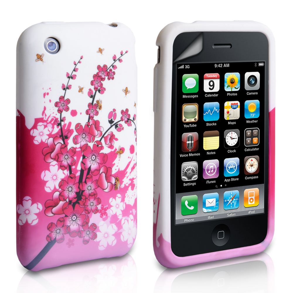 YouSave Accessories iPhone 3G / 3GS Floral Bee Gel Case - White-Pink