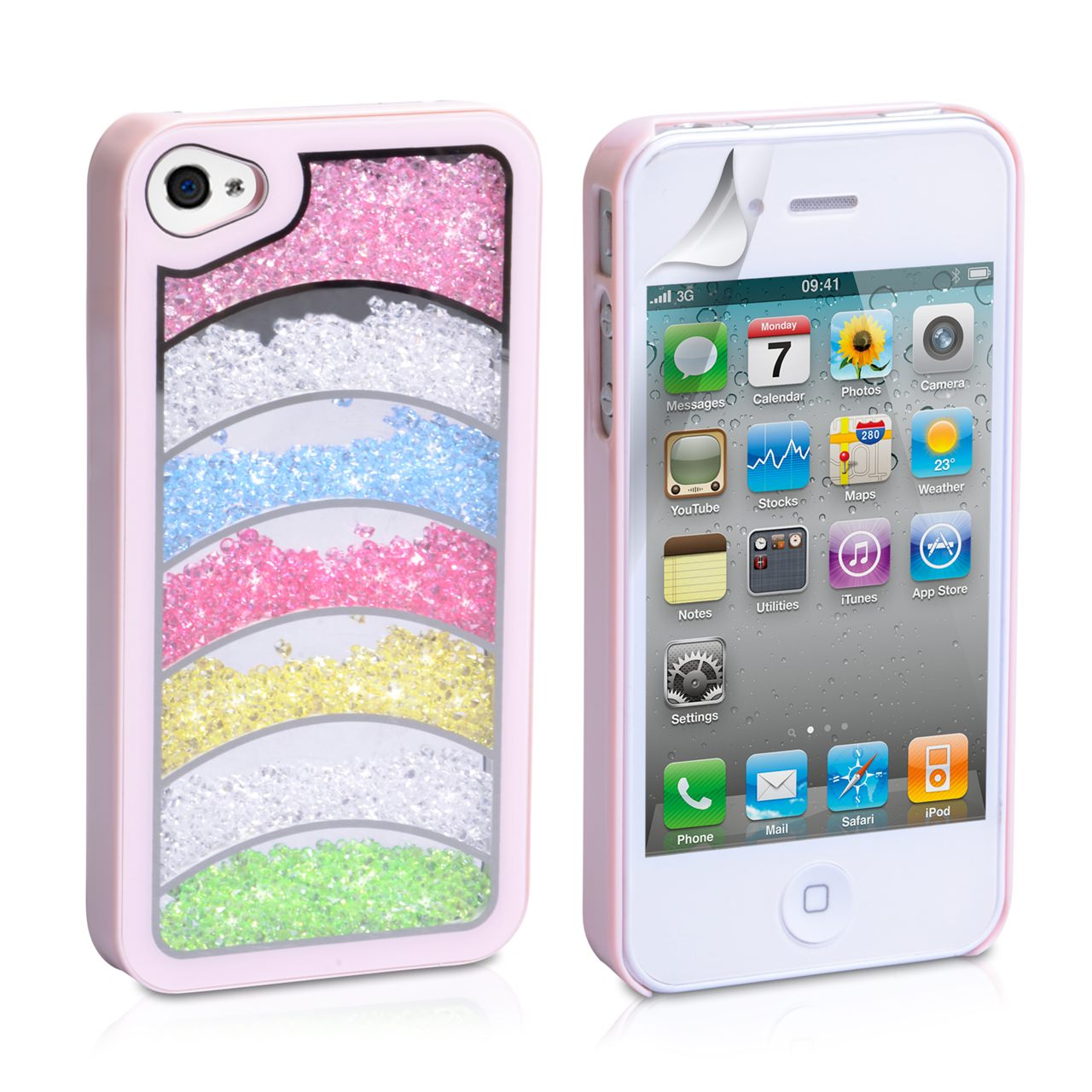YouSave Accessories iPhone 4 / 4S Rainbow Bling Hard Case - Baby Pink