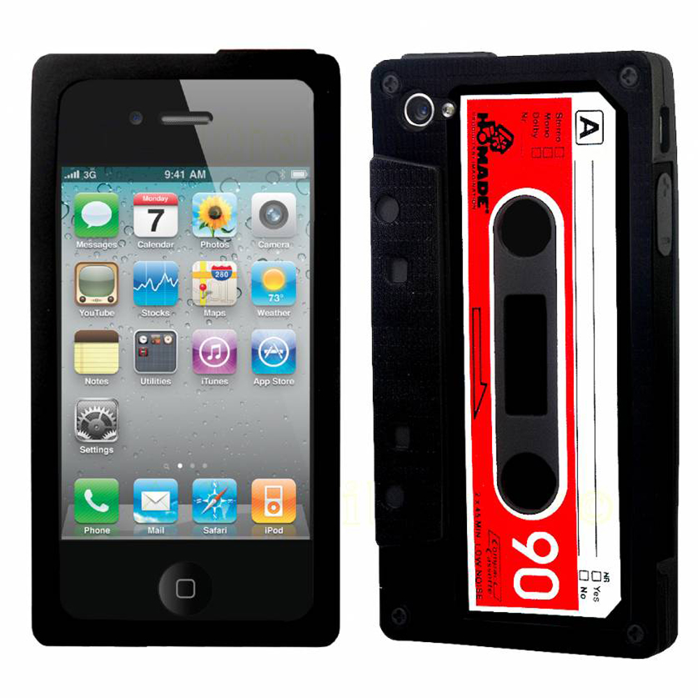 YouSave Accessories iPhone 4 / 4S Cassette Gel Case - Black