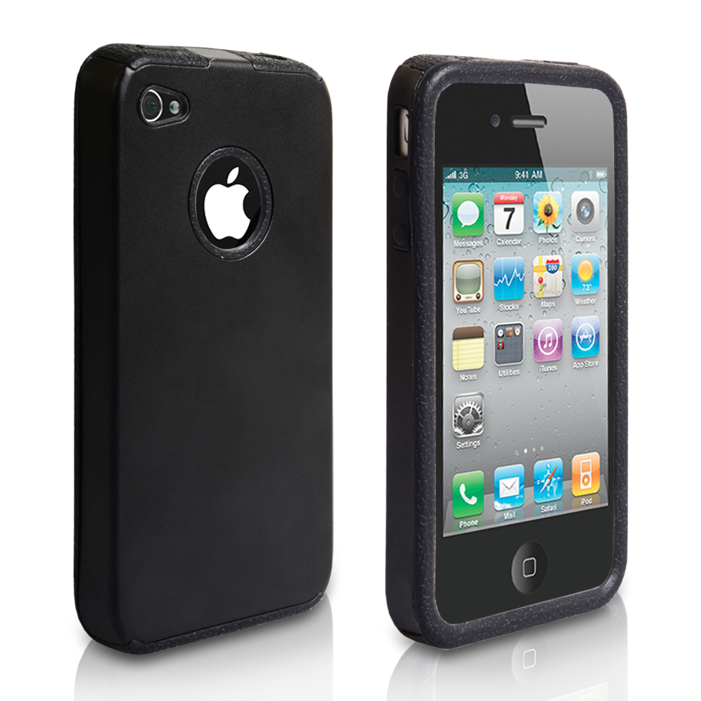 YouSave Accessories iPhone 4 / 4S Hard Aluminium-Gel Case - Black