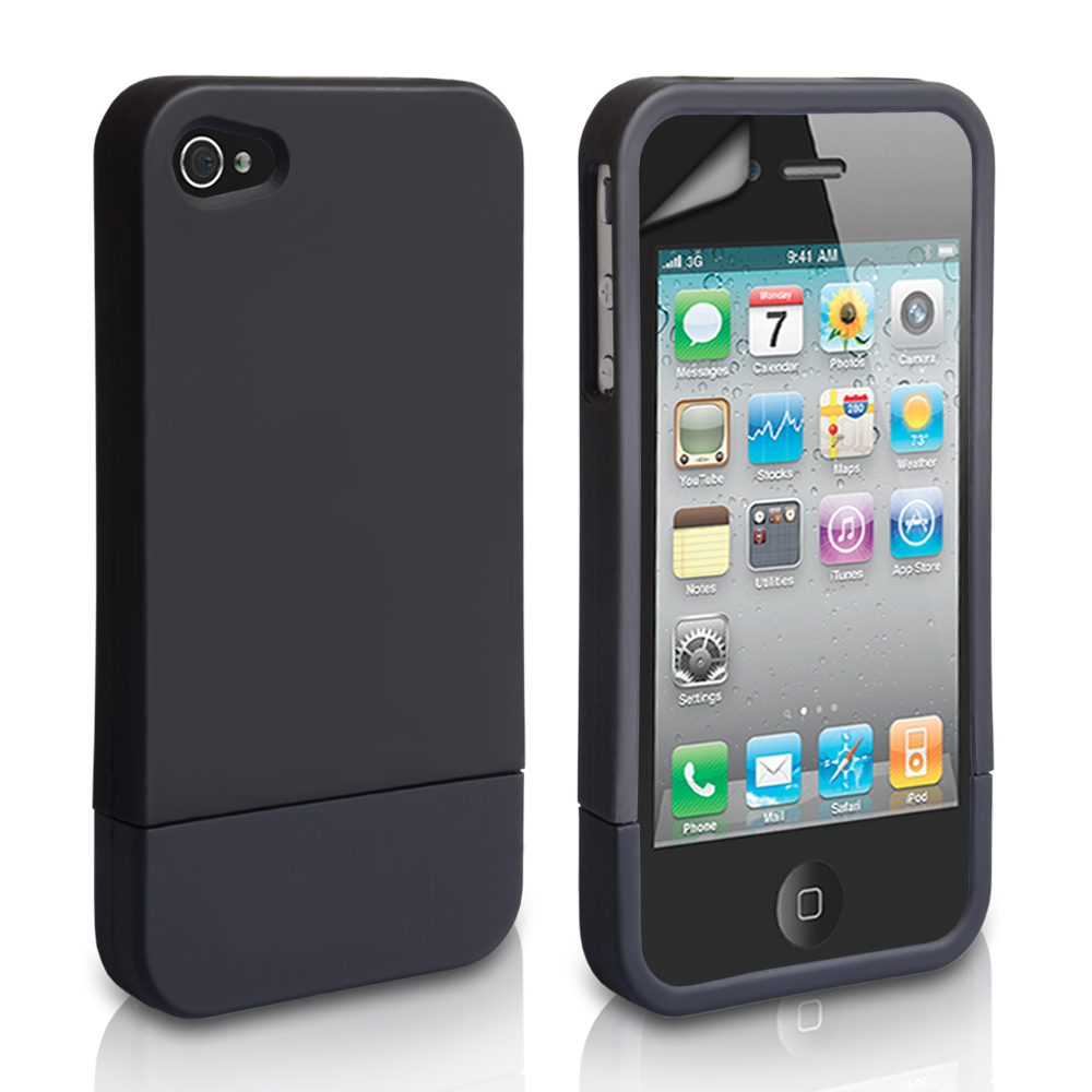 YouSave Accessories iPhone 4 / 4S Two Part Slide Hard Case - Black