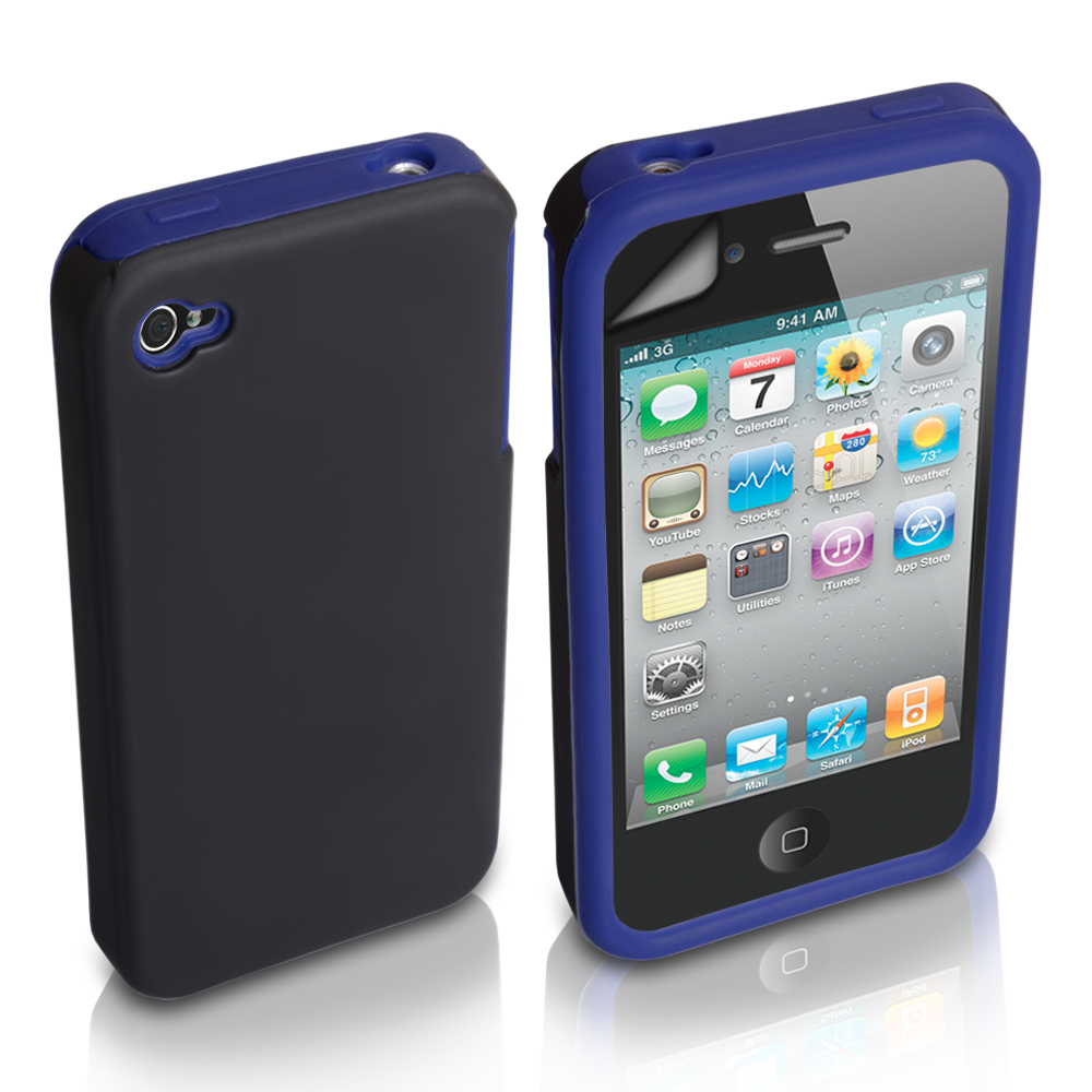 YouSave iPhone 4 / 4S Dual Combo Hard-Soft Gel Case - Black-Blue