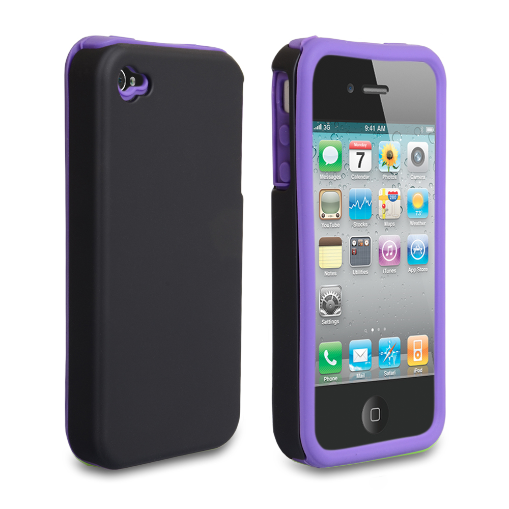 YouSave iPhone 4 / 4S Dual Combo Hard-Soft Gel Case - Black-Purple