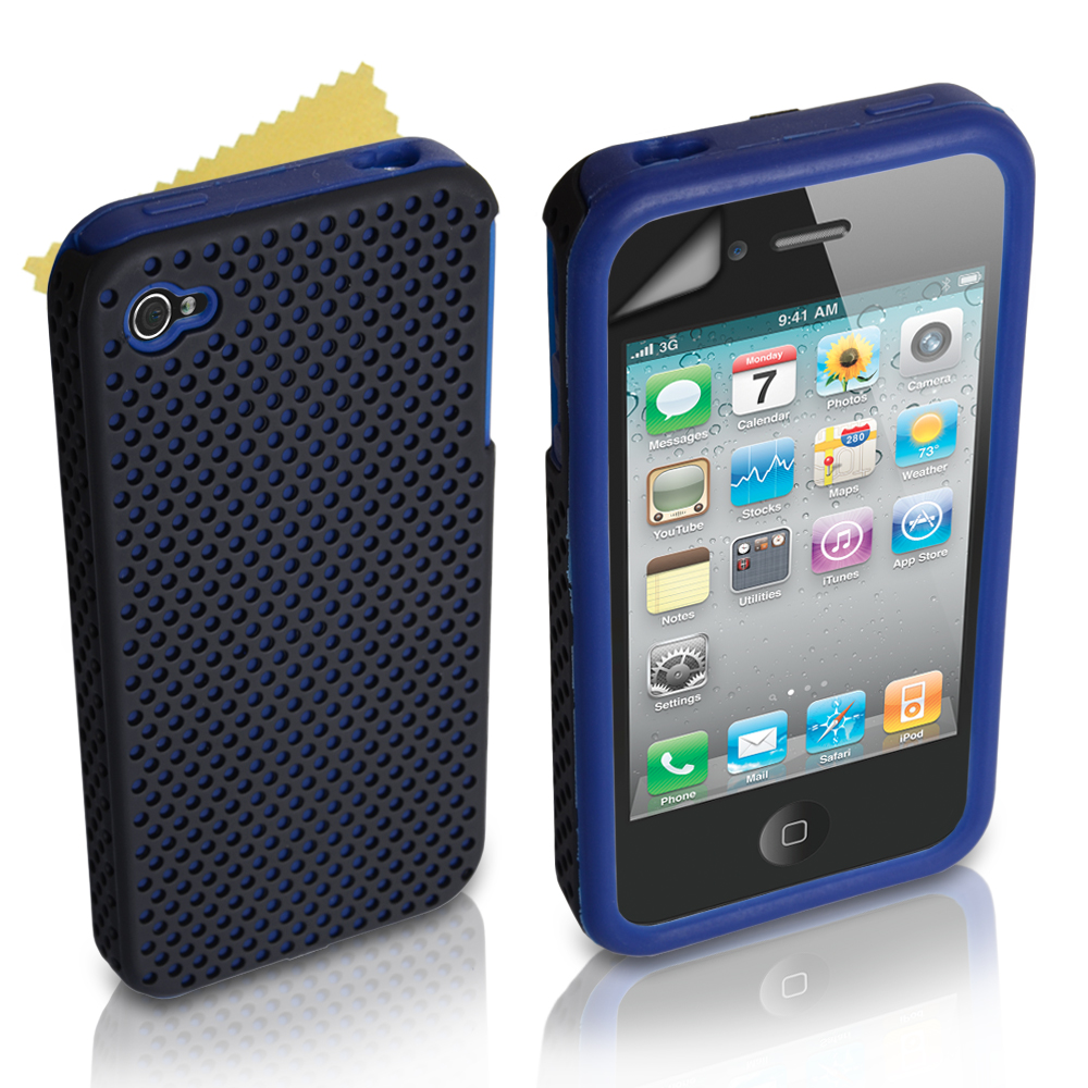 YouSave Accessories iPhone 4 / 4S Dual Combo Mesh-Gel Case - Blue