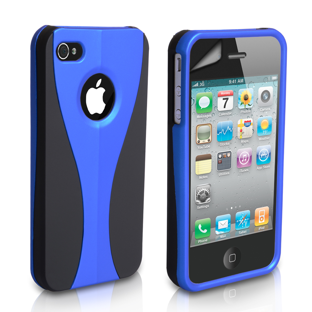 YouSave Accessories iPhone 4 / 4S Dual Hard Case - Blue