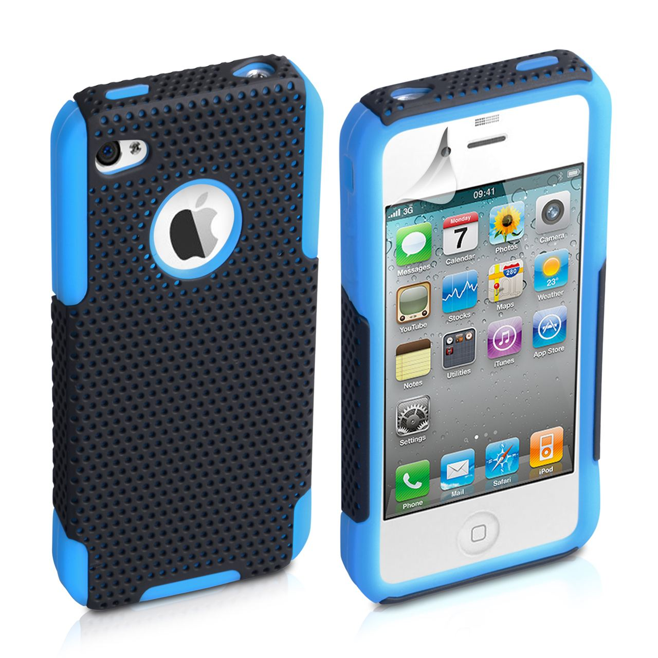 YouSave Accessories iPhone 4 / 4S Mesh Combo Case - Blue
