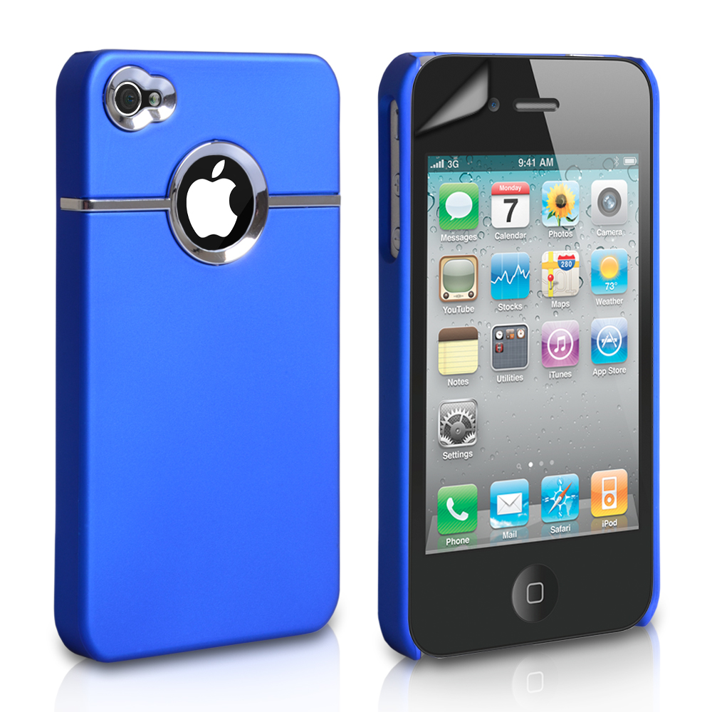 YouSave Accessories iPhone 4 / 4S Hard Combo Case - Blue-Chrome
