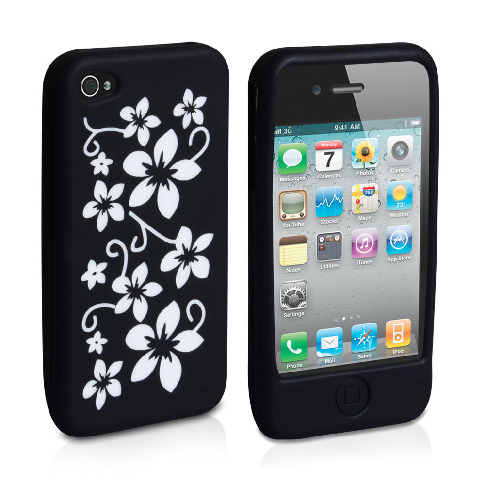 YouSave Accessories iPhone 4 / 4S Flower Gel Case - Black