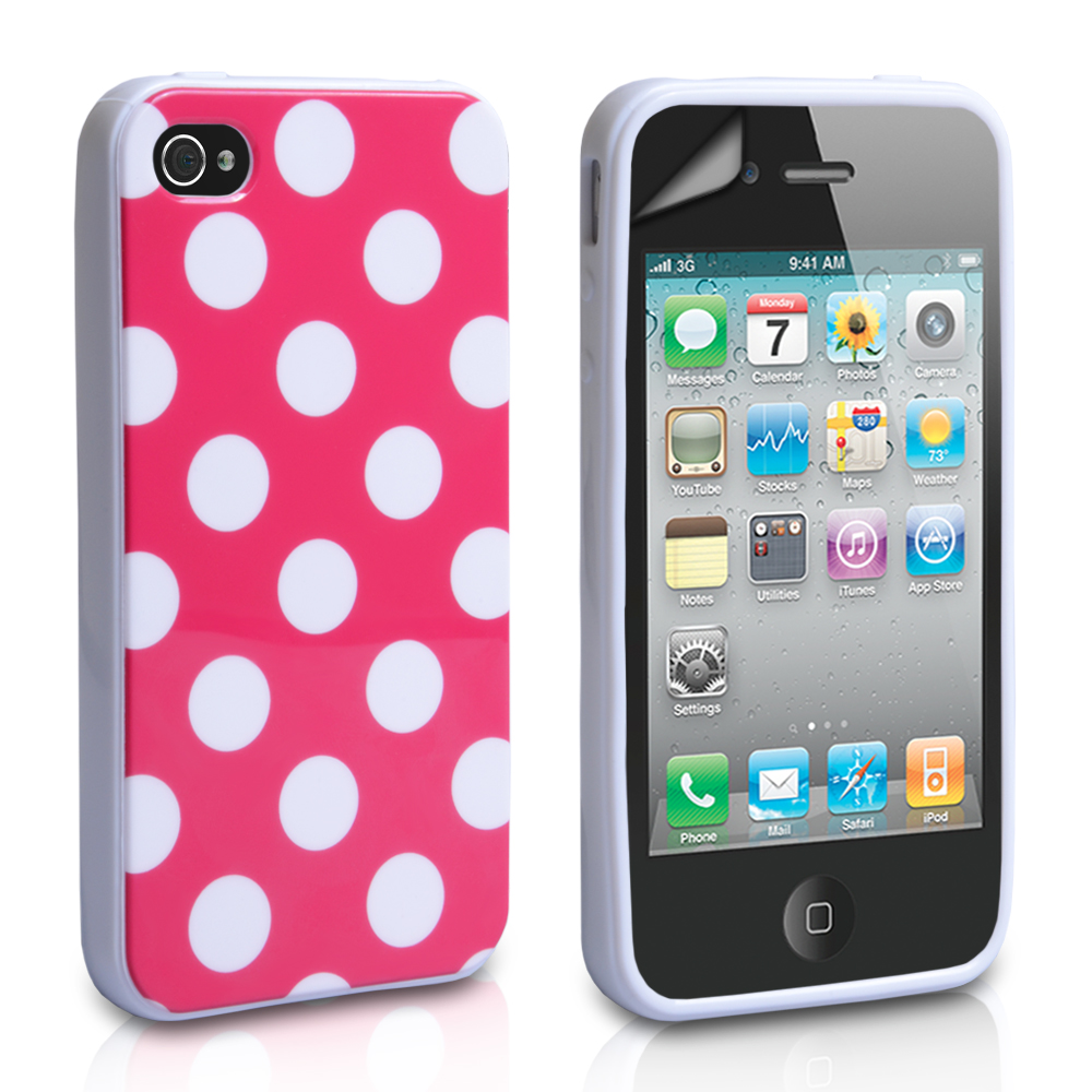 YouSave Accessories iPhone 4 / 4S Polka Dot Gel Case - Hot Pink