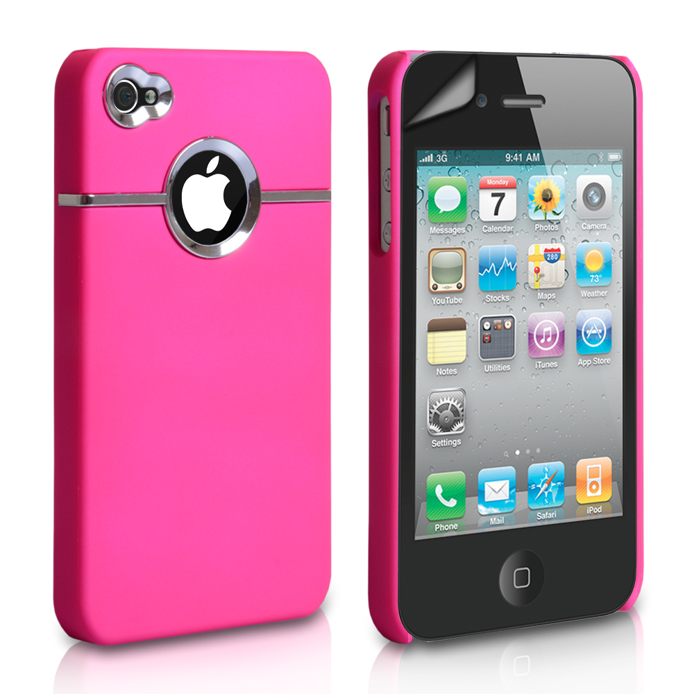 YouSave Accessories iPhone 4 / 4S Hard Combo Case - Pink-Chrome