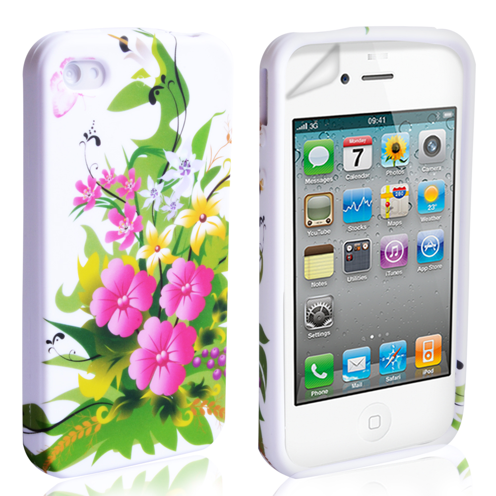 YouSave Accessories iPhone 4 / 4S Floral Gel Case - Pink-Yellow