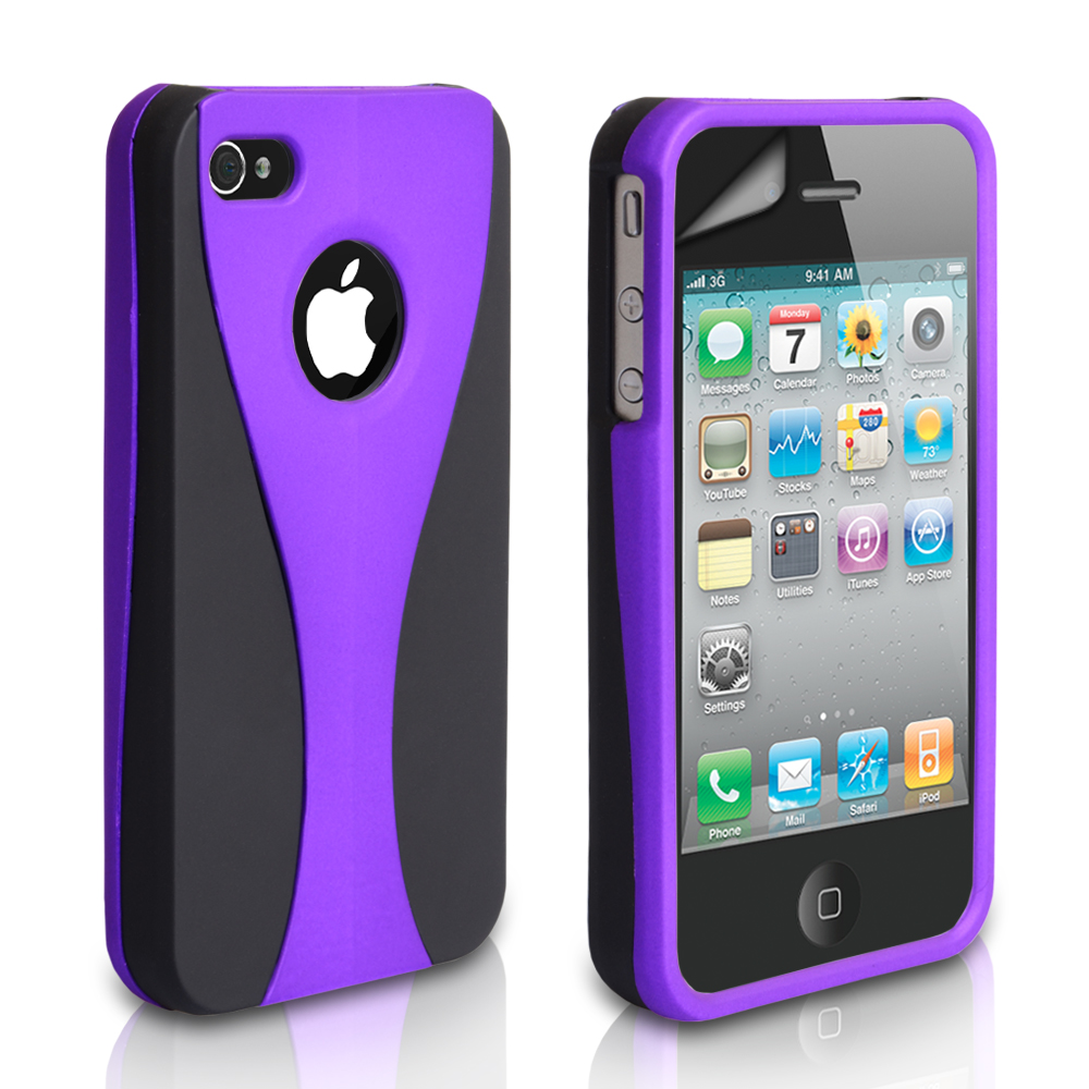 YouSave Accessories iPhone 4 / 4S Dual Hybrid Hard Case - Purple