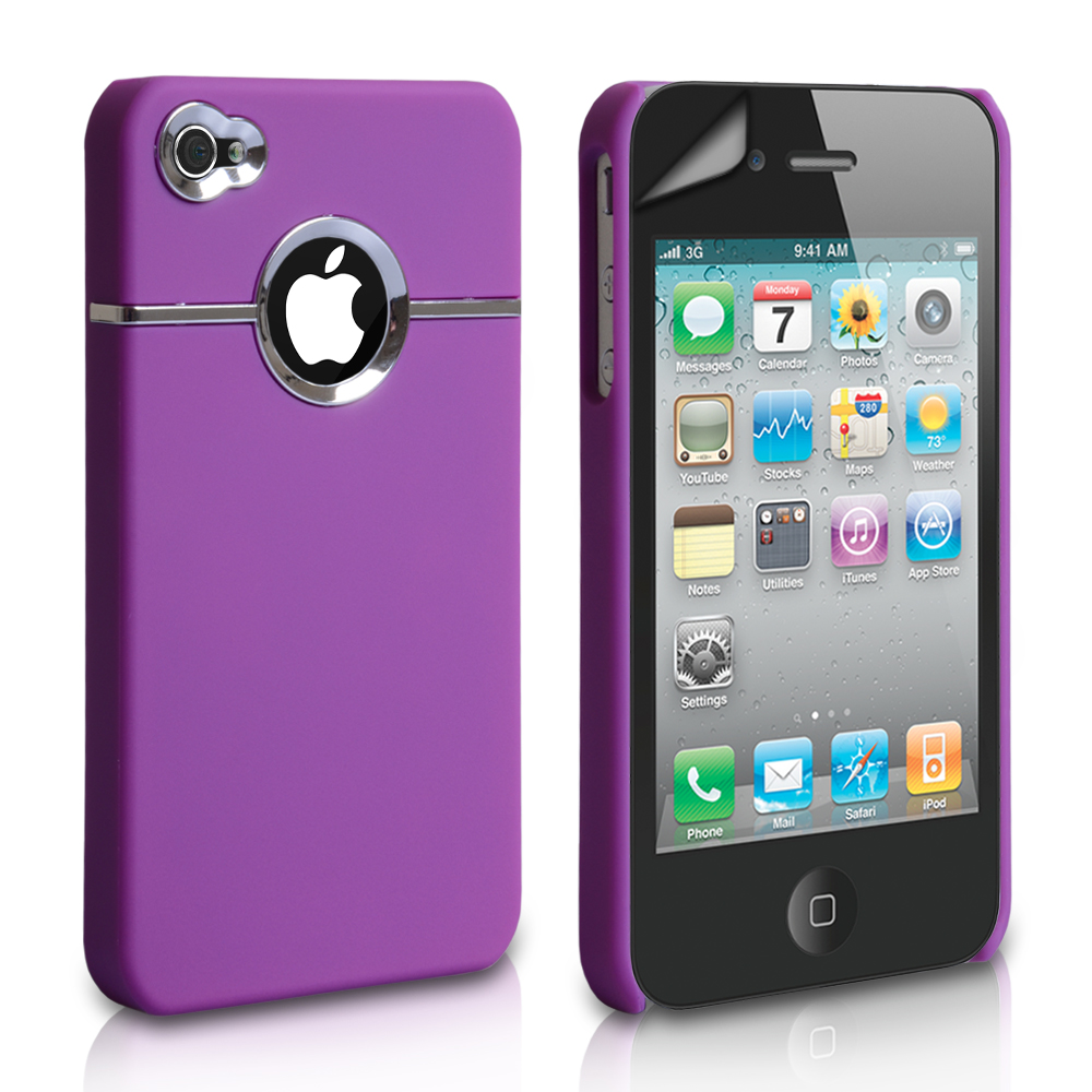 YouSave Accessories iPhone 4 / 4S Hard Combo Case - Purple-Chrome