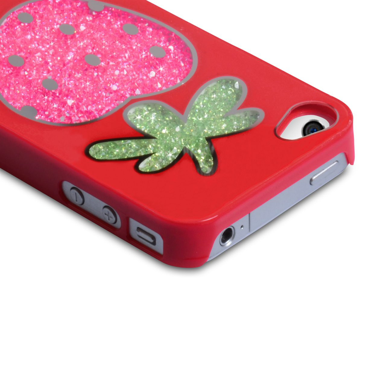 YouSave Accessories iPhone 4 / 4S Strawberry Bling Hard Case - Red
