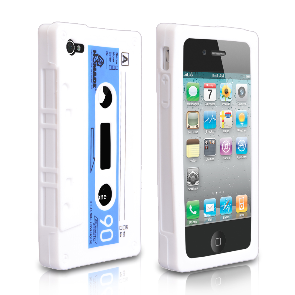YouSave Accessories iPhone 4 / 4S Cassette Gel Case - White