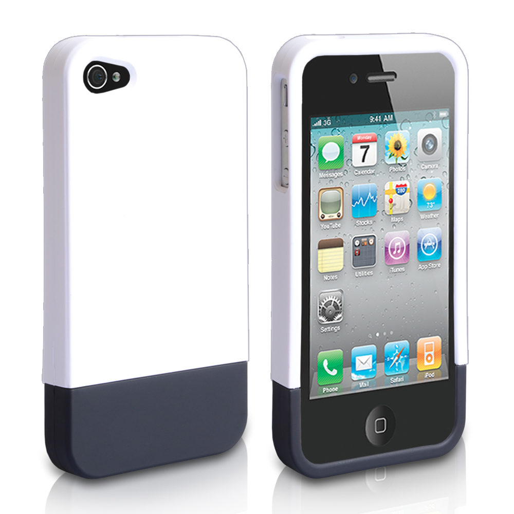 YouSave iPhone 4 / 4S Two Part Slide Hard Case -  White / Black