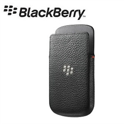 Blackberry Q10 Official Black Real Leather Pocket Case