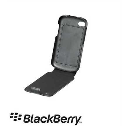 Blackberry Q5 Official Black Real Leather Flip Shell Case