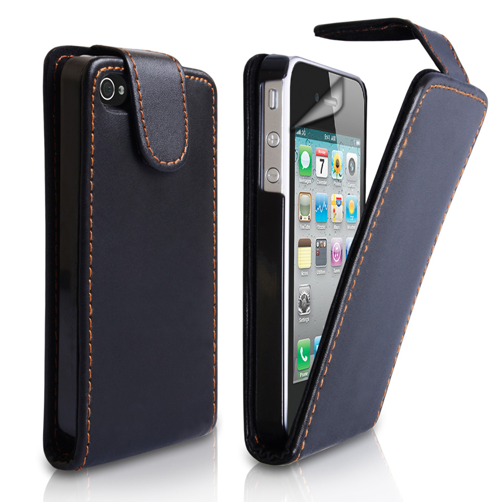 YouSave Accessories iPhone 4 / 4S Leather Effect Flip Case - Black
