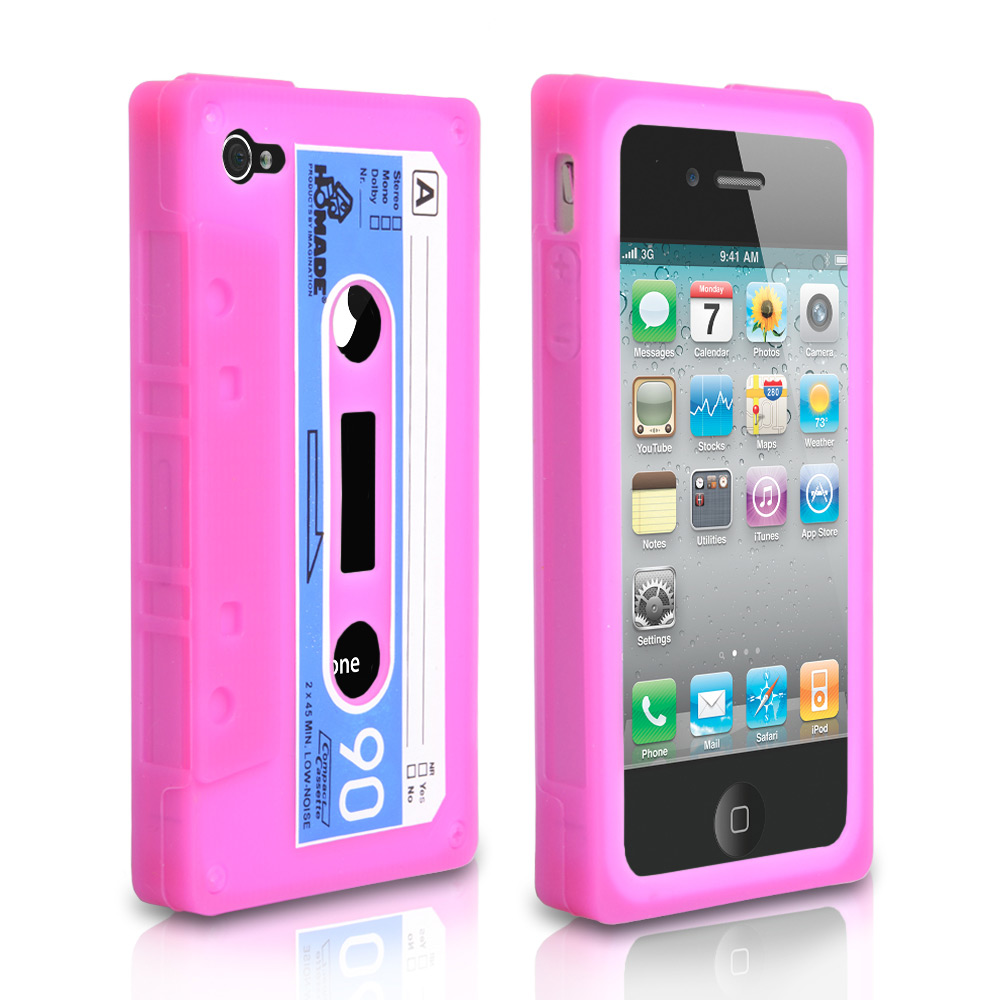 YouSave Accessories iPhone 4 / 4S Cassette Gel Case - Pink-Blue