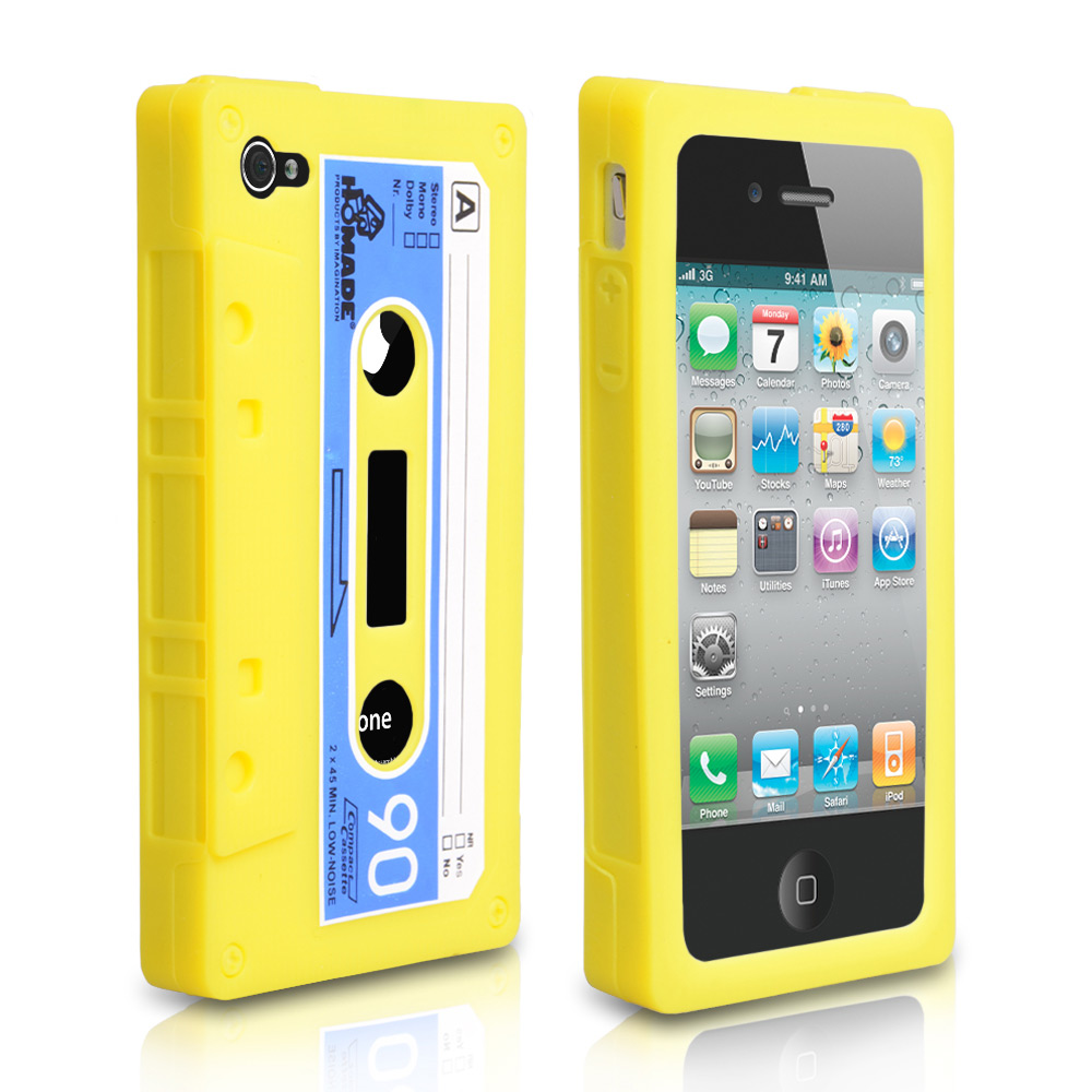 YouSave Accessories iPhone 4 / 4S Cassette Gel Case  - Yellow