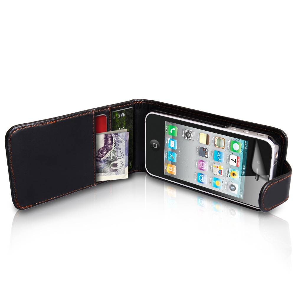 YouSave iPhone 4 / 4S Leather Effect Flip Wallet Case - Black