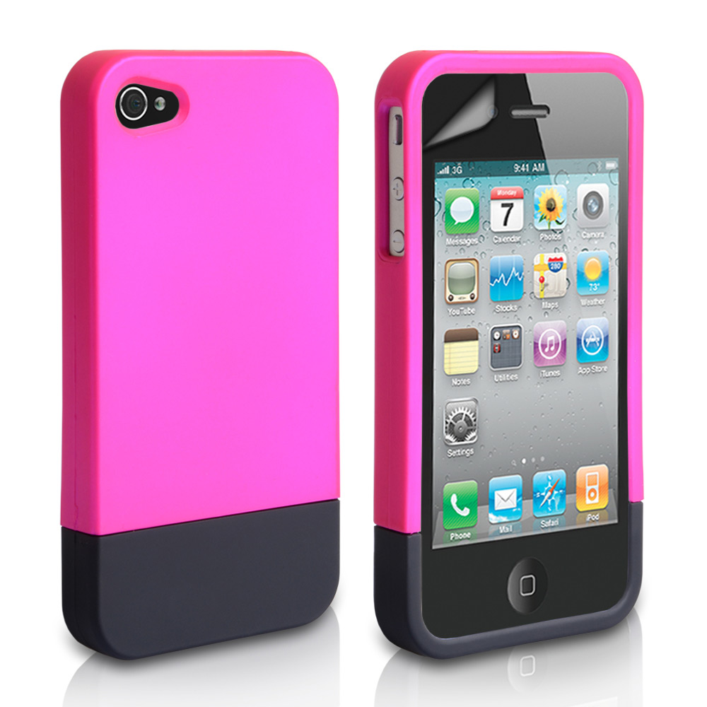 YouSave iPhone 4 / 4S Two Part Slide Hard Case - Pink-Black