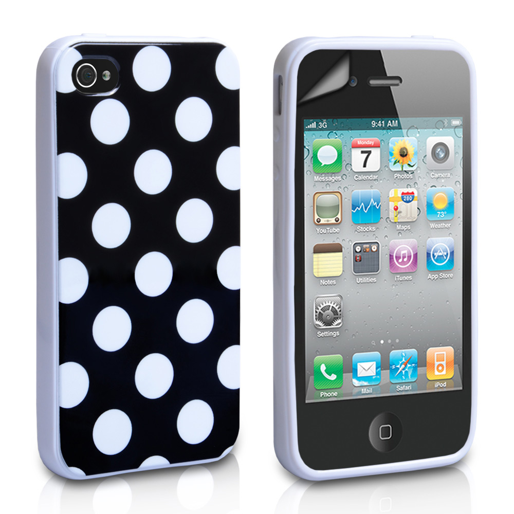 YouSave Accessories iPhone 4 / 4S Polka Dot Gel Case - Black