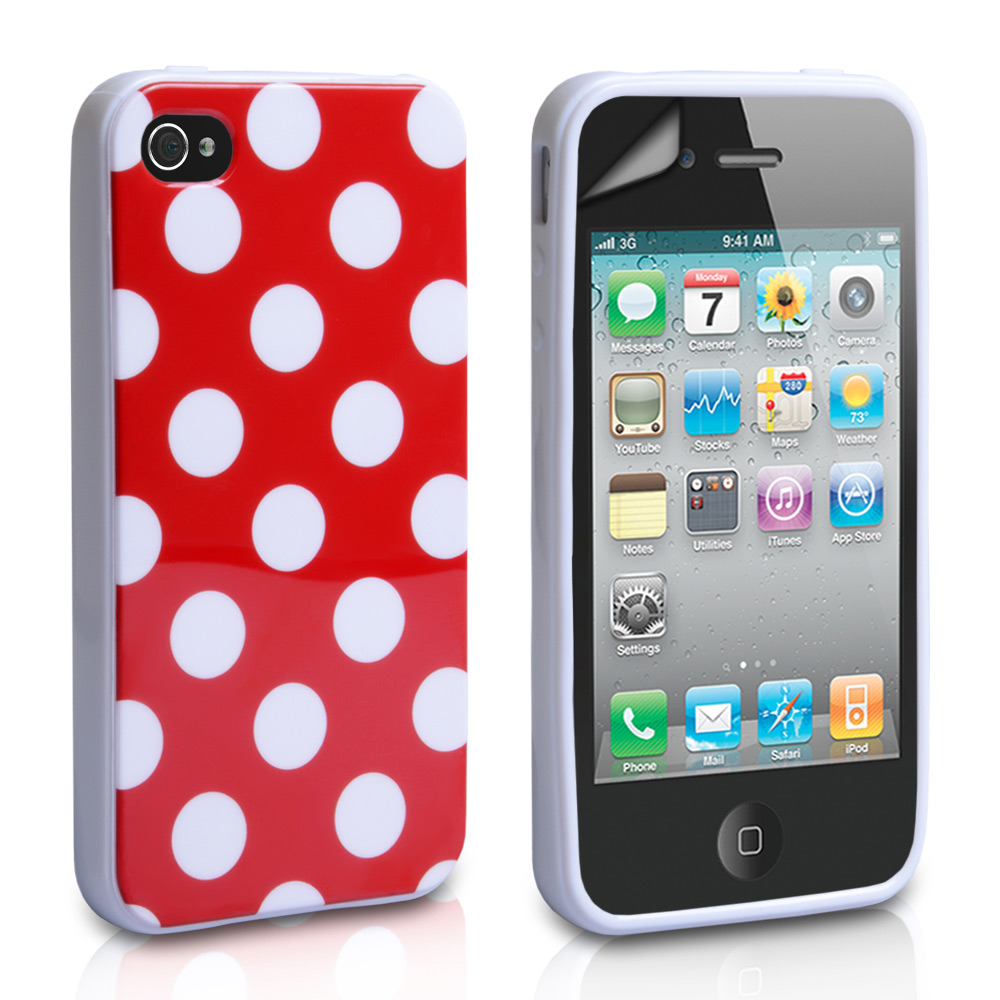 YouSave Accessories iPhone 4 / 4S Polka Dot Gel Case - Red