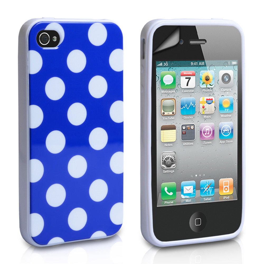 YouSave Accessories iPhone 4 / 4S Polka Dot Gel Case - Blue