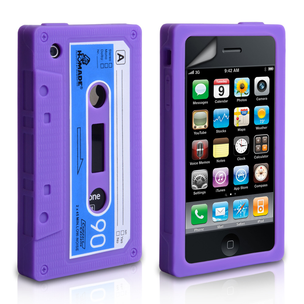 YouSave Accessories iPhone 3G / 3GS Cassette Gel Case - Purple-Blue