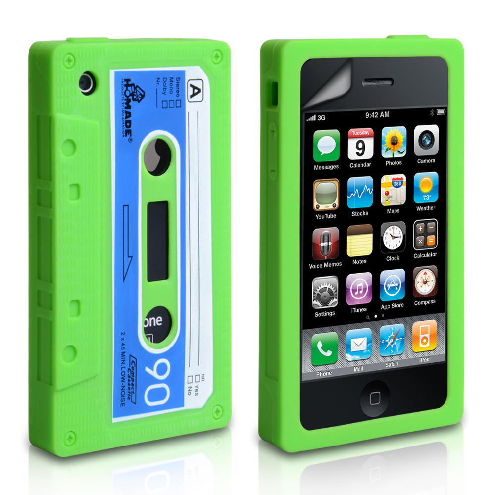 YouSave Accessories iPhone 3G / 3GS Cassette Gel Case - Green-Blue