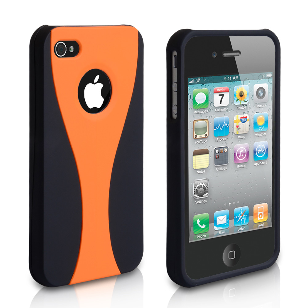YouSave Accessories iPhone 4 / 4S Dual Hard Case - Black-Orange