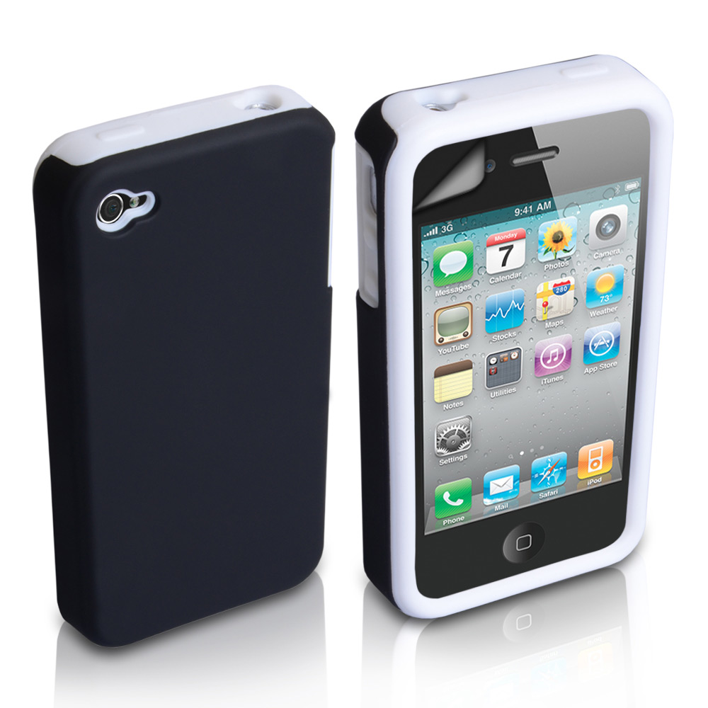 YouSave iPhone 4 / 4S Black-White Dual Combo Hard-Soft Gel Case