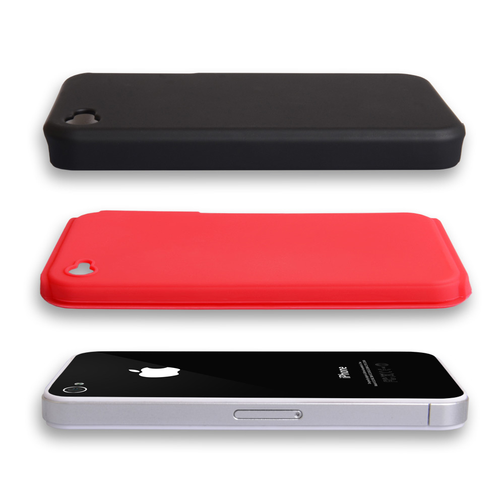 YouSave iPhone 4 / 4S Dual Combo Hard-Soft Gel Case - Black-Red